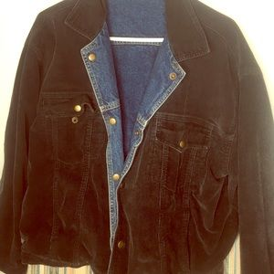 VTG cord and denim reversible jacket